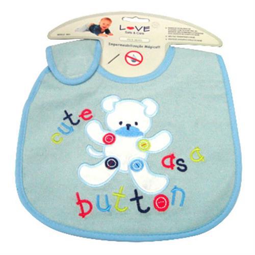 Babador Para Bebê Atoalhado De Algodão Cute Button Azul Love