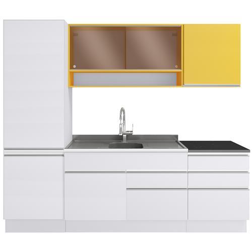 Cozinha Compacta Andressa Glamy Com Vidro Reflecta Madesa
