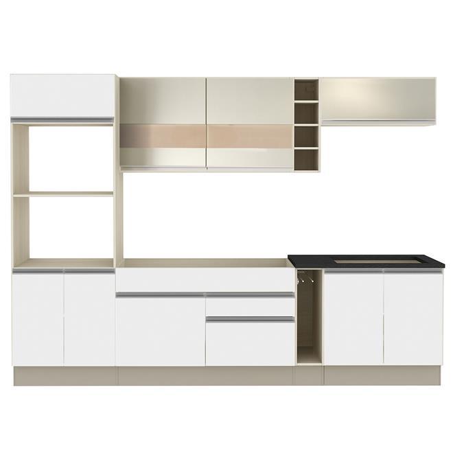 Cozinha Glamy Top Vicenza Tirol Branco Bp Bronze Madesa  Madesa # Cozinha Compacta Madesa Top Glamy