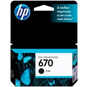 Cartucho Tinta 670 Ink Advantage 7.5 Ml Preto Hp Suprimentos
