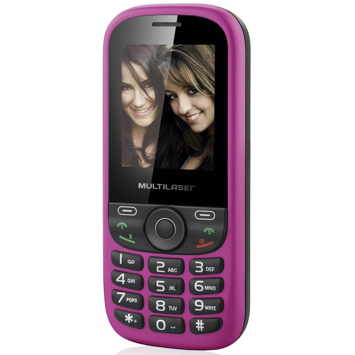 Telefone Celular Up 3 Chip Preto E Rosa P3275 Multilaser