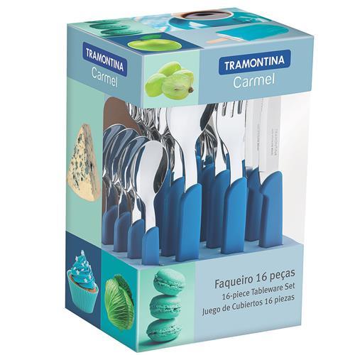 Faqueiro Carmel 16 Peças Aço Inox Azul 23499004 Tramontina