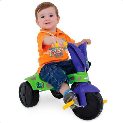 Triciclo Infantil Dino Verde E Azul  Com Pedal 7610 Xalingo