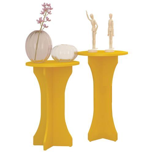 Conjunto Mesas Apoio Luck Amarelo Mdp Pintura Uv 3086 Artely