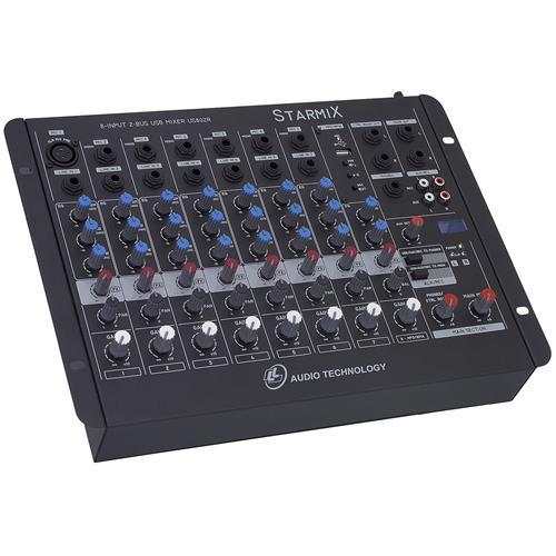 Mixer De Som 8 Canais Controle Panorâmico US802RD LL Áudio