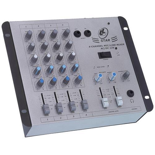 Mixer De Som Bivolt 12v Conector Rca P10 STAR412V LL Áudio