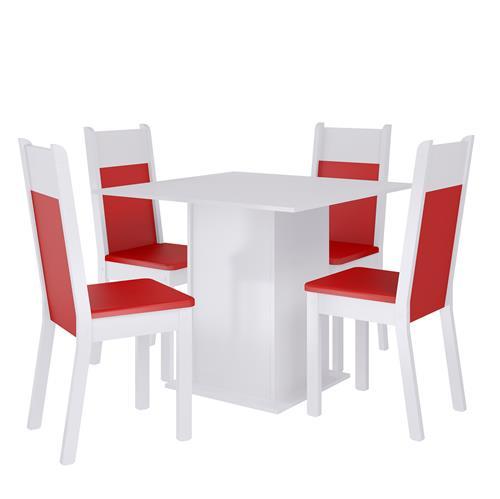 Sala De Jantar Alana Branco Vermelho 0440111Xve Madesa