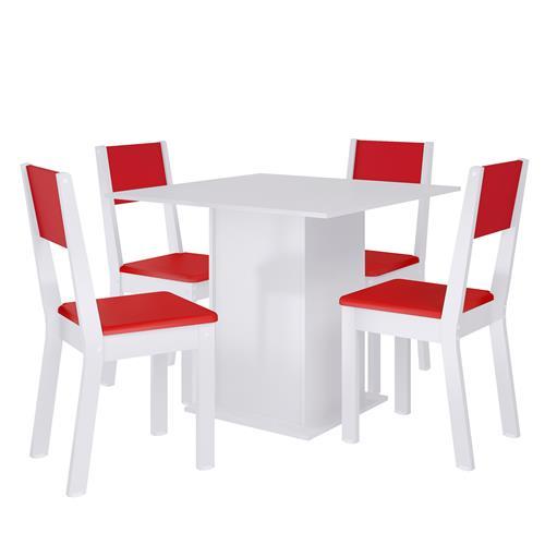 Sala De Jantar Iara Branco E Vermelho 0440211Xve Madesa