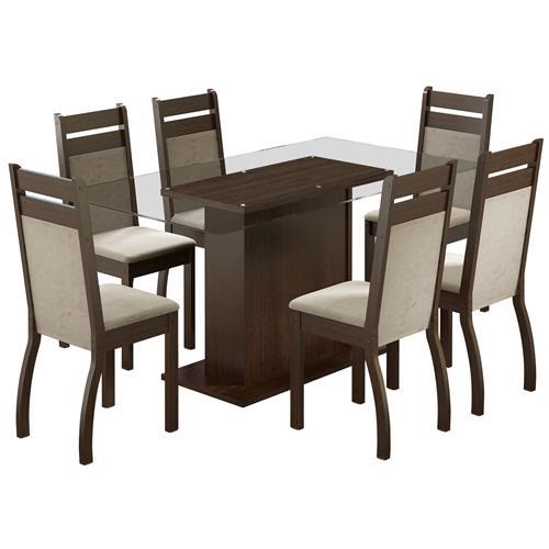 Sala De Jantar Com Mesa 6 Cadeiras Tabaco Peróla Lion Madesa