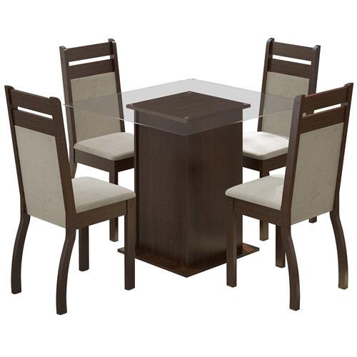 Sala De Jantar Com Mesa 4 Cadeiras Tabaco Peróla Dijon Madesa