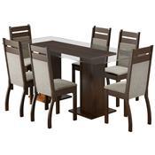 Sala Jantar Com Mesa 4 Cadeiras Tabaco Peróla Marselha Madesa