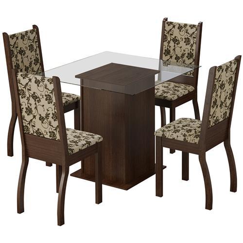 Sala Jantar 8 Cadeiras Tabaco Tecido Floral Ariadne Madesa