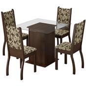 Conjunto Mesa Quadrada Com 4 Cadeiras Tabaco Floral Ariadne Madesa