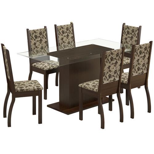 Sala De Jantar 6 Cadeiras Tabaco Tecido Floral Betina Madesa