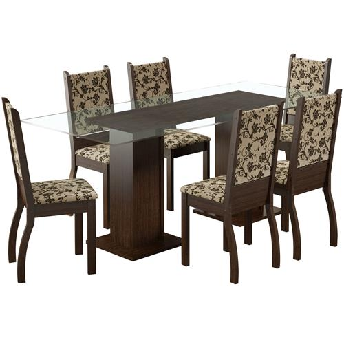 Sala Jantar 6 Cadeiras Tabaco Tecido Floral Marcela Madesa
