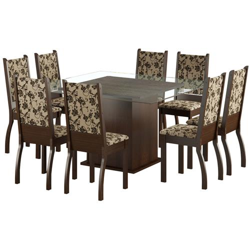 Sala De Jantar 8 Cadeiras Tabaco Tecido Floral Vívian Madesa