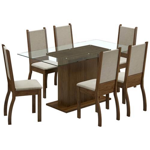 Sala De Jantar 6 Cadeiras Rustic Suéde Pérola Betina Madesa
