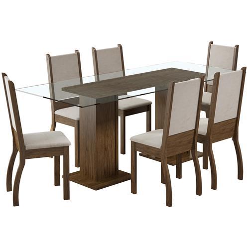 Sala De Janta 6 Cadeiras Rustic Suéde Pérola Marcela Madesa