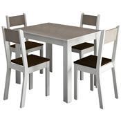 Sala De Jantar Com 4 Cadeiras Smart Branco E Amêndoa Madesa