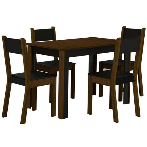 Sala De Jantar Com 4 Cadeiras Smart Imbuia e Preto Madesa