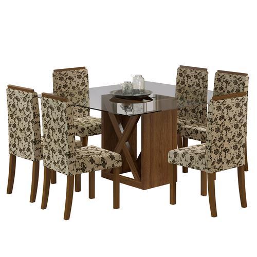 Sala De Jantar 4 Cadeiras Valparaíso Rustic Flroal Madesa
