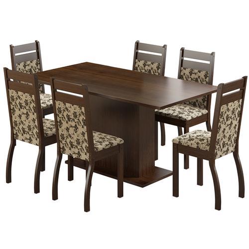 Sala De Jantar Com 6 Cadeiras Versalhes Tabaco Floral Madesa