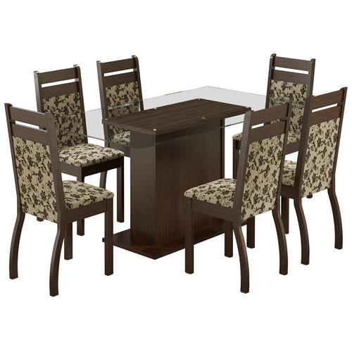 Sala De Jantar Cor Tabaco ~ Sala De Jantar Com Mesa 6 Cadeiras Lion Tabaco Floral Madesa  Madesa