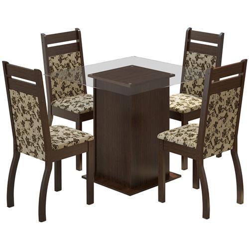 Sala De Jantar Com 4 Cadeiras Dijon Tabaco Floral Madesa