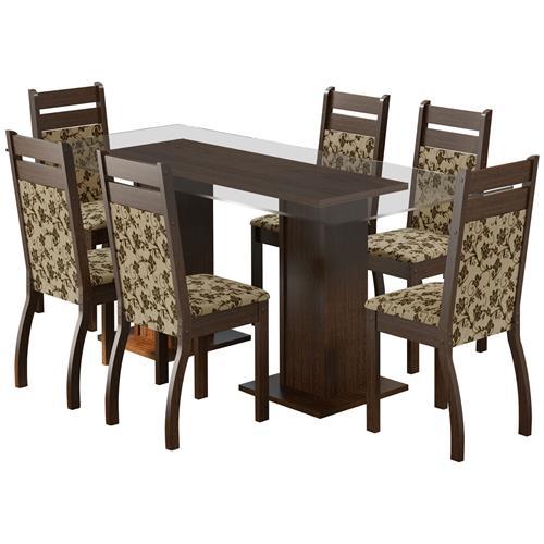 Sala De Jantar Com 6 Cadeiras Marselha Tabaco Floral Madesa