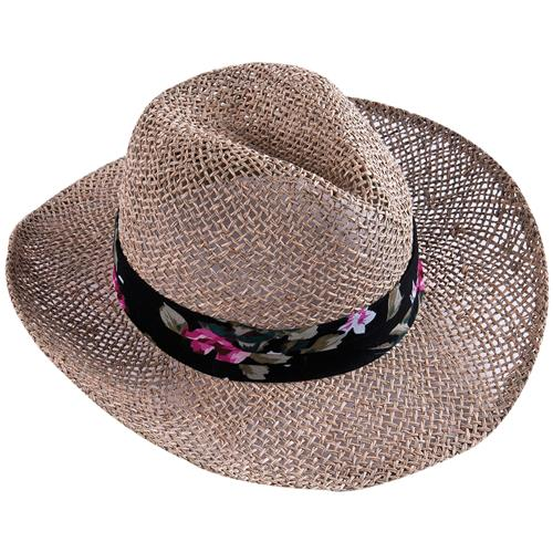Chapéu De Palha Mônaco Com Fita Decorada Poliéster 3682 Mor