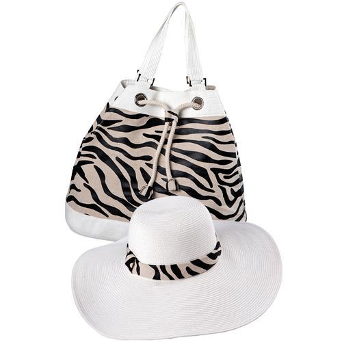 Savage Bolsa E Chapéu De Algodão Branco Com Estampa 3697 Mor