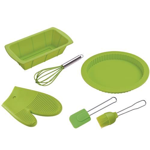 Kit Cozinha 6 Peças Verde Formas E Luva De Silicone 8515 Mor