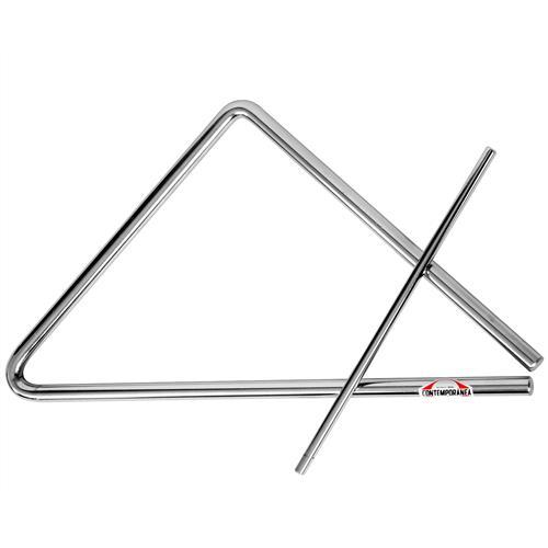 Triangulo Médio Aço Inox 30Cm Com Baqueta 219C Contemporânea