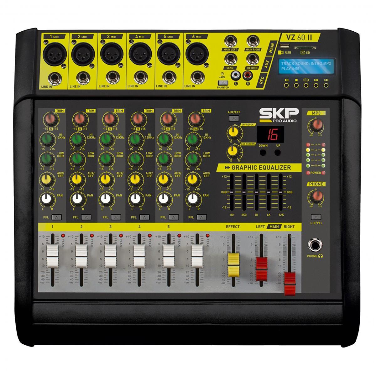 Mesa De Som Amplificada 200W Rms 4 Ohms 6 Canais Vz60a Skp