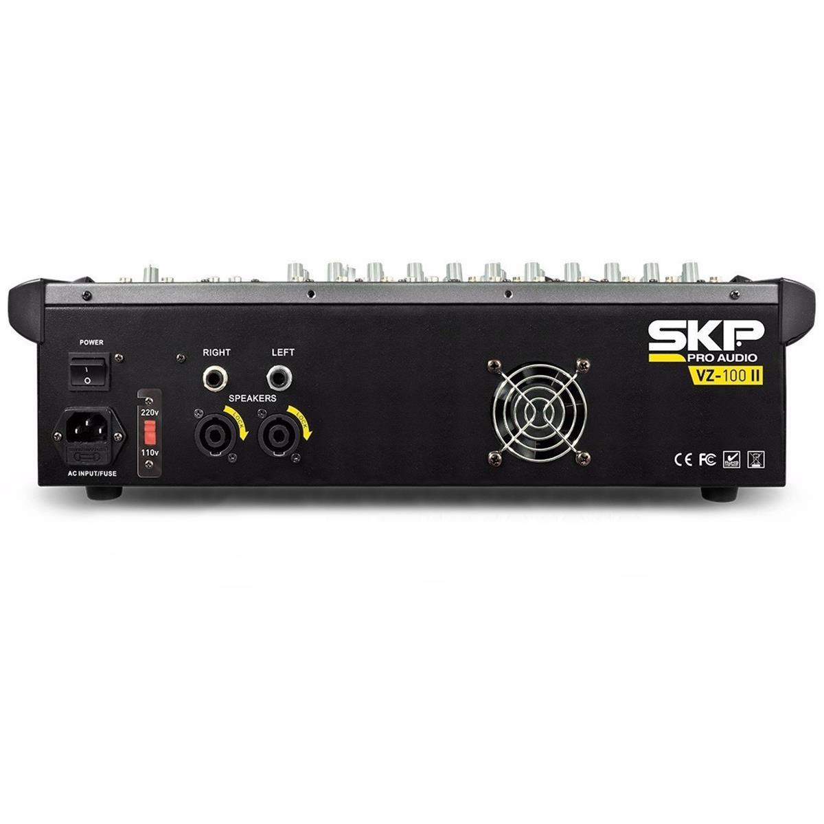 Mesa De Som Amplificada 250W Rms 4 Ohms 10 Canais Vz100a Skp