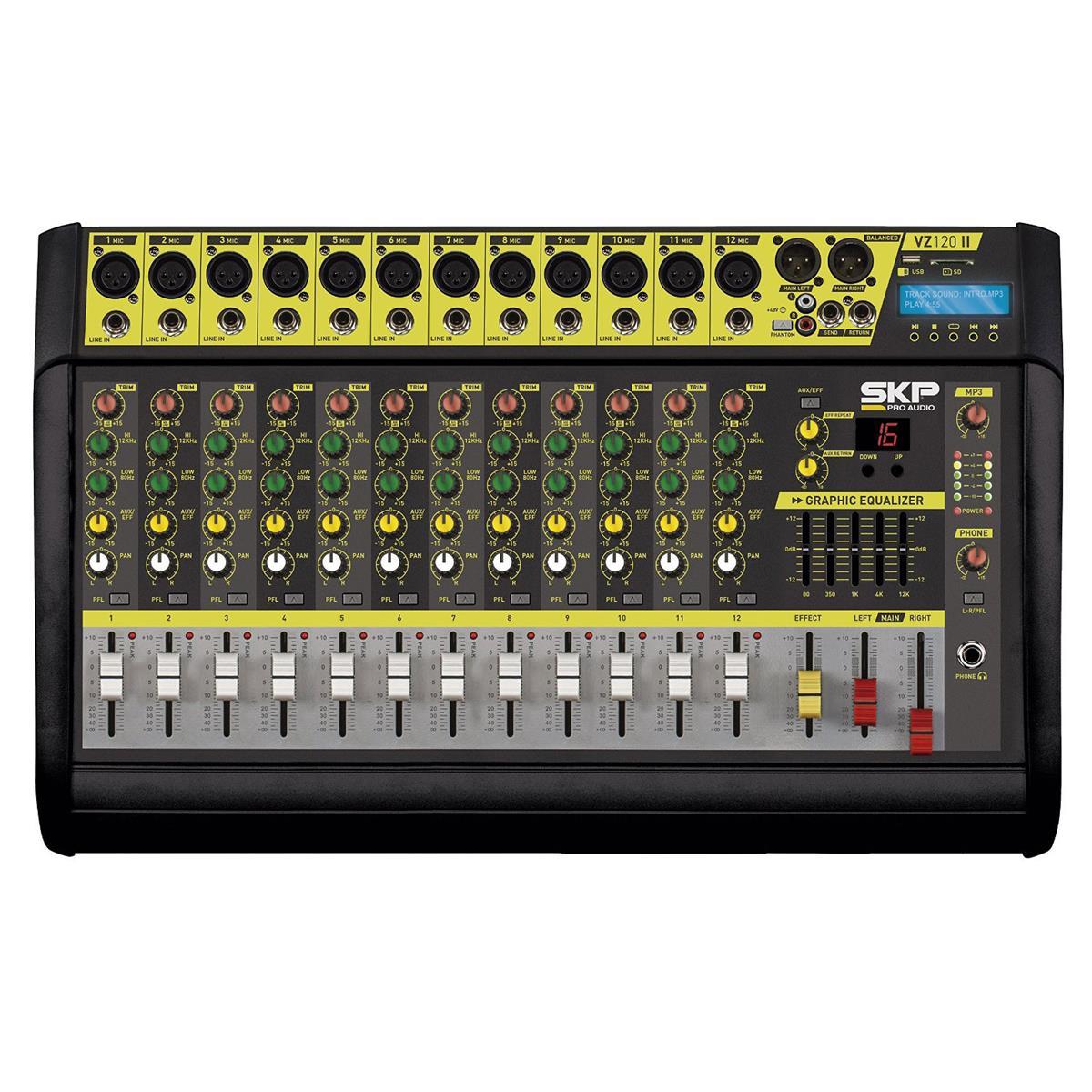 Mesa De Som Amplificada 250W Rms 4 Ohms 12 Canais Vz120a Skp