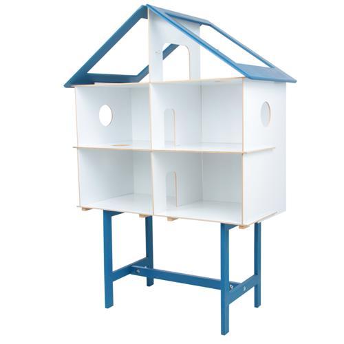 Casinha Infantil Azul Com Móveis 40 Peças Mdf 1160 Carlu