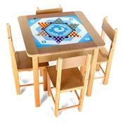 Mesa Para Recreação Em Madeira Com 5 Jogos 5002 Carlu