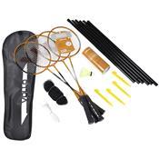 Kit Badminton Raquetes Petecas De Nylon Rede 9 Peças Vb004 Vollo