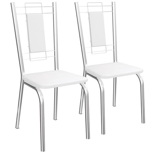 Jogo De 2 Cadeiras Florença Cromada De Metal C005 Kappesberg