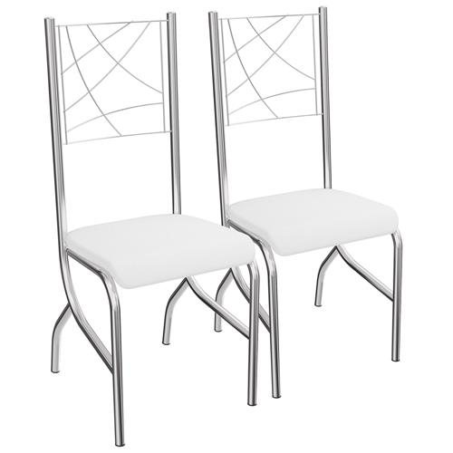 Kit 2 Cadeiras Polônia De Metal Cromado 2C070 Kappesberg