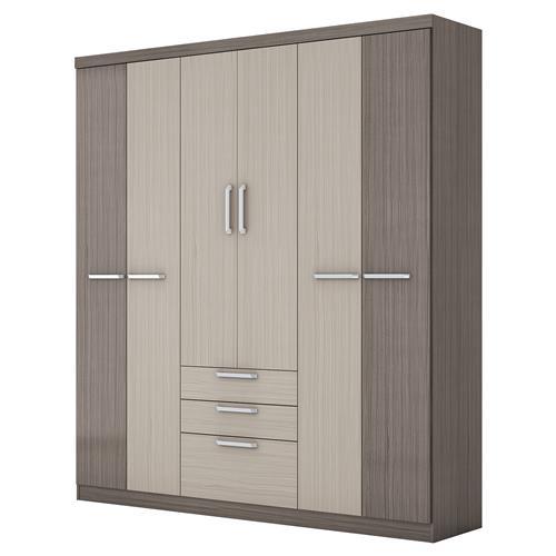 Guarda-Roupa Econ Com 6 Portas Gris E Palha D149-74 Henn