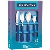 Conjunto De Talheres Inox 24 Peças Leme 23198146 Tramontina