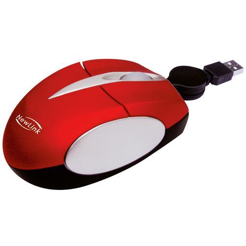 Mini Mouse Retrátil Óptico Soft 800 Dpi Vermelho MO308 NewLink
