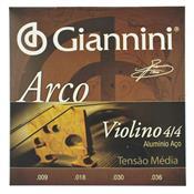 Encordoamento Para Violino Geavva 4 / 4 Aço Médio 27566 Giannini