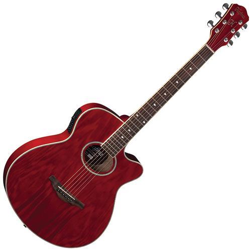 Violão Mini Jumbo Cutway Vermelho Aço HM239 TRRD Hofma