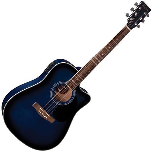 Violão Elétrico Folk Aço Cutway Blue Sunburst Ye220 Bls Hofma