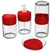 Kit Higiene 4 Peças Vermelho Em Plástico Uz512-Vm Uz Utilidades
