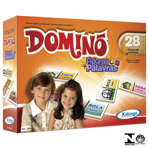 Jogo De Dominó Figuras E Palavras 28 Peças 5248.7 Xalingo