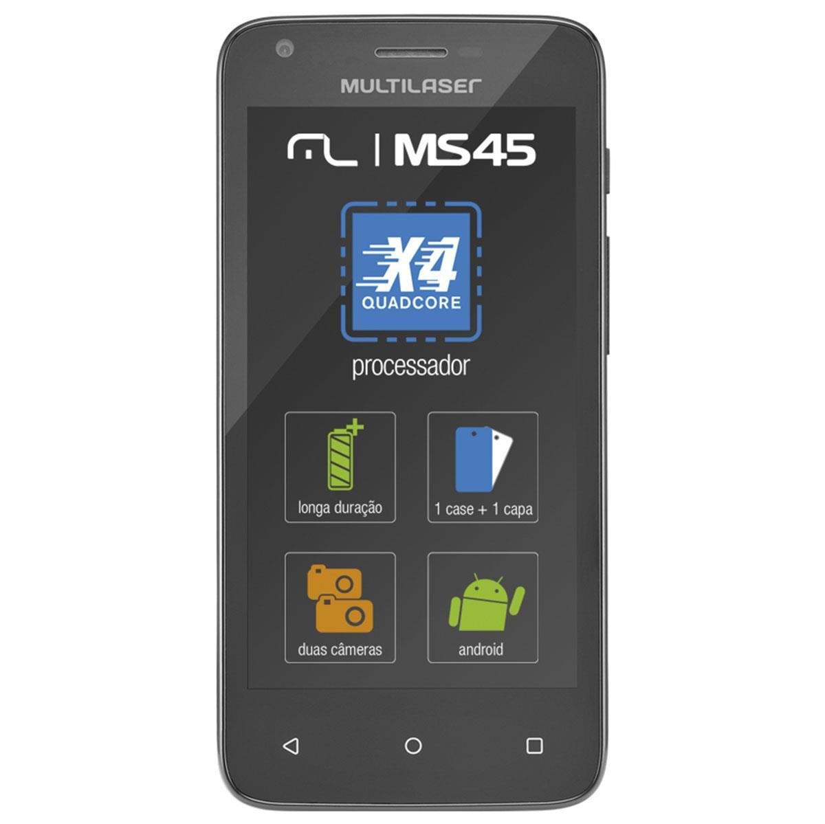 Celular Ms45 4.5 Pol Quad Core Colors Preto P9009 Multilaser